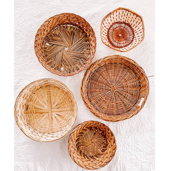 Set of 5 Vintage Boho Basket Wall Baskets